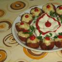 Fasírt muffin formában sütve, fürjtojással, reszel
