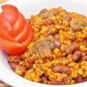 Gombás-csilis bab vegetáriánus módra